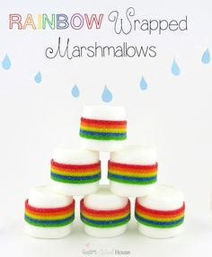 Rainbow Wrapped Marshmallows are so cute and easy to make for St Patricks Day treats.