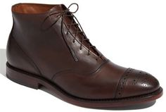 $375, Dark Brown Leather Brogue Boots: Allen Edmonds Fifth Street Boot. Sold by Nordstrom. Click for more info: https://lookastic.com/men/shop_items/52722/redirect