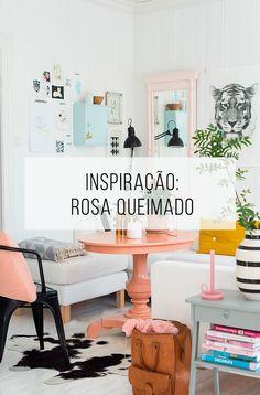 Inspiração de decoração: uma sala nas cores branca e rosa queimado. Linda! // palavras-chave: decoração, inspiração, casa, sala, colorido, cores, detalhes, rosa, branco, couro, ideias, decor, dcoracao, sala de jantar, espaço pequeno.