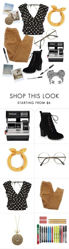 """Polaroid artist in the park."" by rianfrate ❤ liked on Polyvore featuring Polaroid, Journee Collection, Topshop, Current/Elliott and Sharpie"
