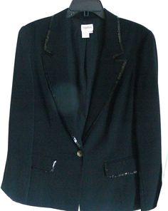 TOGETHER Black Sequin Embellished One Button Jacket Blazer Size 14 W #Together #Blazer