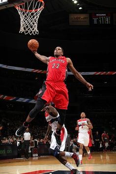 WASHINGTON, DC - FEBRUARY 19: Rudy Gay #22 of the Toronto Raptors rises for a dunk against the Washington Wizards during the game at the Verizon Center on February 19, 2013 in Washington, DC.