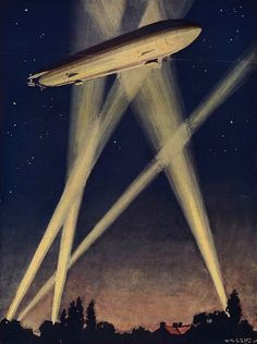 Zeppelin airship caught in searchlights during a bombing raid over England, On night of September London was bombed. Illustration published Get premium, high resolution news photos at Getty Images Trauma, Ww1 Art, Bingo Blitz, Thing 1, Futuristic Art, Cartography, Dieselpunk, World War I, Science And Nature