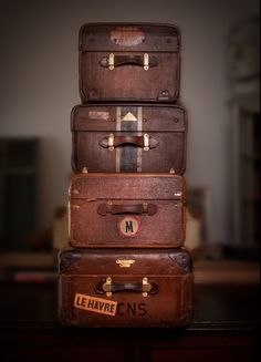 3rd anniversary : leather vintage leather suitcases