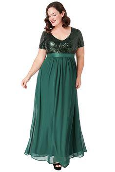 996e02a2bce8 Zelené dlouhé šaty s flitrovaným živůtkem City Goddess Batma