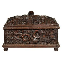 Mid 19th c Black Forrest box with morning glory motif on log frame surmounted with a turtle – France or Switzerland, 19th Century  - Kevin Stone Antiques, New Orleans, LA
