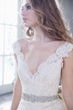 Alvina Valenta lace, satin, taffeta gown, sheer back, jeweled belt, natural waist
