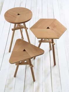 Shibui: A New Line of Timeless Homewares - Design Milk Plywood Furniture, Table Furniture, Cool Furniture, Furniture Design, Furniture Stores, Painted Furniture, Design Minimalista, Wooden Stools, Wood Design