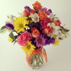 Mixed flower bouquet, Daisies, carnations, statice, alstromeria. Harriet's Flowers-Ruskin, FL