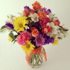 Mixed flower bouquet, Daisies, carnations, statice, alstromeria. Harriet's Flowers-Ruskin, FL