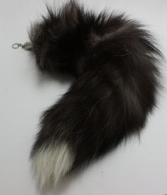 5371d7bcb SET of 3 Silver Fox Tail Keychains Black with by FeatherAffair