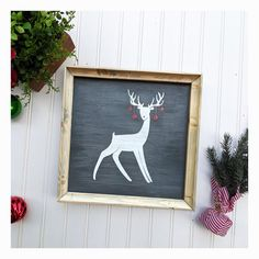 Reindeer w/ Christmas Tree Ornaments, Hand Painted Christmas Decor Sign Christmas Signs, Christmas Tree Ornaments, Christmas Decorations, Holiday Decor, Reindeer Christmas, Xmas, Custom Wood Signs, Rustic Signs, Rustic Decor