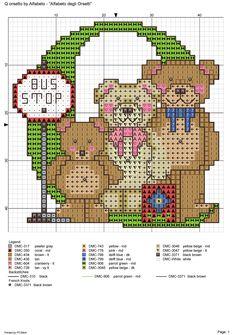 alfabeto degli orsetti : Q Cross Stitch Letters, Cross Stitch Baby, Cross Stitch Flowers, Cross Stitch Charts, Cross Stitch Designs, Stitch Patterns, Cute Alphabet, Animal Alphabet, Alphabet And Numbers