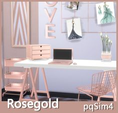 Rose Gold Decor. Sims 4 Custom Content.