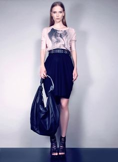 2013_ss_collection_konsanszky  t-shirt: printed hair remake by Man Ray  belt:nappa leather   skirt: draped jersey  bag: curved plexiglas nappa leather shoulders bag
