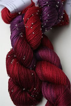 Artyarns Beaded Silk Pearl Knitting Yarn 195S  Hot Cha Cha! (Gorgeous Cherry, fuschia, raspberry, scarlet and hot pink silk) -- 100% silk with Murano Beads 100 yds/155m 50g/1.7oz #6 US 5 sts/inch