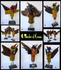Murder of Crows Robot Animal, Assemblage Art, Selling Art, Crows, Buy Art, Recycling, Sculpture, Ceramics, Bird