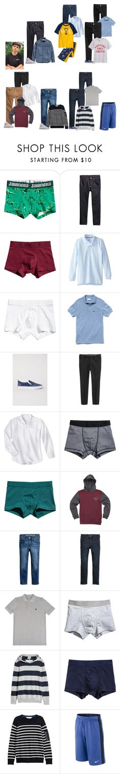 """Jude This Week"" by thesummitfam ❤ liked on Polyvore featuring French Toast, Converse, Gymboree, Lacoste, Oxford, Vans, Timberland, NIKE, men's fashion and menswear"