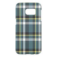 #simple - #Classic Teal Blue Yellow Gray Tartan Plaid Pattern Samsung Galaxy S7 Case
