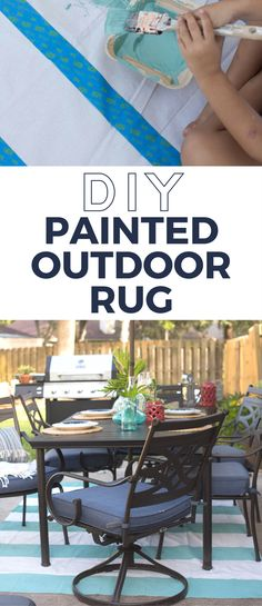 Drop cloths are really inexpensive and are the perfect size for an outdoor rug. This painted rug only costs $15 to make and is the perfect DIY project.