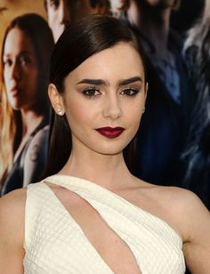 Lily Collins' dark red lipstick is perfect for fall