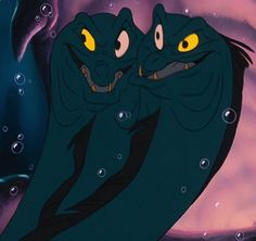 Flotsam and Jetsam were the moray eel minions of the sea witch Ursula in Disney's 1989 animated feature film, The Little Mermaid. Flotsam and Jetsam speak in unison, finish each other's sentences, and entwine their bodies. The concept of their linkage is further heightened when their white eyes combine to form a single crystal ball, a portal through which Ursula can view the outside world. Ursula would remain in her lair, working from behind the scenes, and watching everything from the...