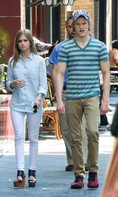 Lucas Till and a female friend eat lunch at Parc Brasserie Restaurant Bistro and Cafe in Philadelphia, PA. 8-20-2012
