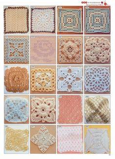 Lots of Granny Square patterns here, diagrams only. Crochet Motifs, Crochet Blocks, Crochet Diagram, Crochet Squares, Crochet Doilies, Crochet Yarn, Crochet Flowers, Crochet Stitches, Crochet Patterns