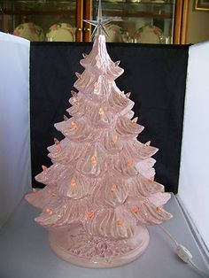 Vtg. PINK PEARLESCENT CERAMIC CHRISTMAS TREE - gorgeous