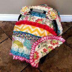 Adorable car seat canopy idea for a girl.