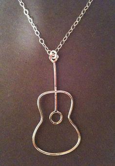 Guitar necklace, music note necklace, treble clef necklace, guitar handmade necklace on Etsy, $19.99