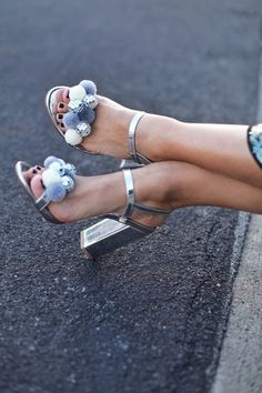 Glam up those party pumps with this fabulous DIY disco pom pom look.