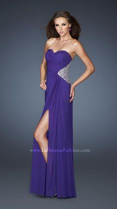 18771 Royal Purple Sweetheart Stretch Mesh Gown with Back Jeweled Cutouts by La Femme