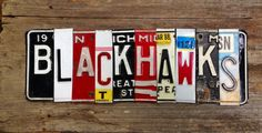 Check out this #Blackhawks sign made from license plates!