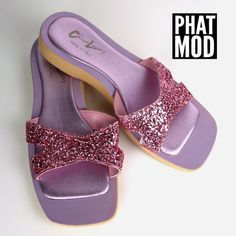 b03fdec18c9cb1 Cute   Sparkly Vintage 90s Spice Girls Club Kid Purple and Pink Glitter  Slides Sandals Flats