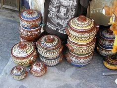 "Bulgarian pottery.  These little casseroles are called ""guvetch"". #Bulgaria"