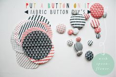 fabric-button-diy-armommy could use for push pins in classroom Fabric Crafts, Sewing Crafts, Sewing Projects, Paper Crafts, Diy Buttons, How To Make Buttons, Do It Yourself Inspiration, Baby Accessoires, Techniques Couture