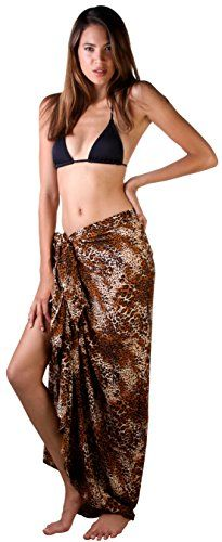 Sarong Animal Coverup Chetah. Sexy Exotic Sarong Bathing Suit Cover up in several Animal print designs. One Size fits most at 67 x 45 inches. Includes Coconut Shell Clip For Easy Tying; Just put sarong fabric through the holes and pull through. Silky Soft For A Sensual Drape; Feel great on your skin, lightweight and quick drying. Use in many ways as a cover up, shawl, scarf, skirt, dress, or beach or pool blanket; Machine wash and dry. Back From Bali creates beautiful, quality clothing with…