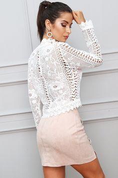 Urban Fashion Trends, Urban Fashion Women, Ootd Fashion, Fashion Dresses, Womens Fashion, Crochet Long Sleeve Tops, White Crochet Top, Women Sleeve, Affordable Fashion
