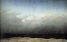 바다와 하늘이 이루는 두 개의 수평선을 가르는 단 하나의 수직선은 왜소하기 그지없는 수도승의 뒷모습이다. 끝없이 펼쳐진 검은 바다를 하염없이 바라보고 서 있는 이는 우리를 향해 등을 돌리고 있다.