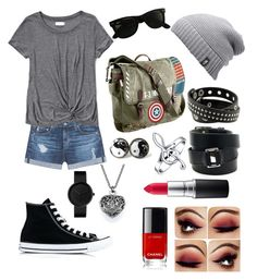 """Casually Crashing"" by rose-talda ❤ liked on Polyvore featuring AG Adriano Goldschmied, Abercrombie & Fitch, Converse, Marvel, Ray-Ban, The North Face, Hermès, Bling Jewelry and MAC Cosmetics"