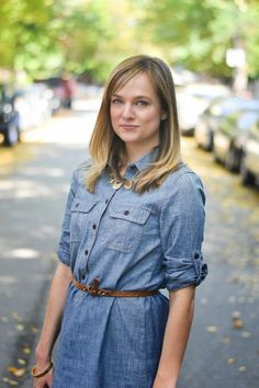 how to style a chambray dress.