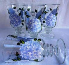 Hydrangea mug set by Morningglories1 on Etsy $50.00