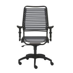 Baba Flat High Back Office Chair in Dark Gray with Graphite Black Frame and Black Base
