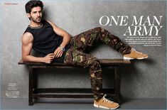 Sporting G-Star Raw camouflage pants, Kartik Aaryan also wears a Sanchita sleeveless top and Clarks sneakers. Best Poses For Men, Good Poses, Bollywood Photos, Bollywood Stars, Indian Celebrities, Bollywood Celebrities, The Fashionisto, Handsome Actors