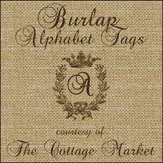 The Cottage Market: Burlap Alphabet Tags Free A complete Set