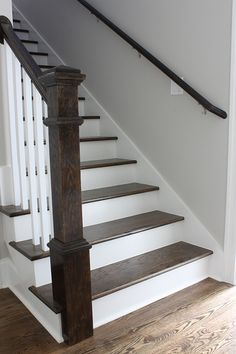 Stained Stair Staircase Steps Post Handrail