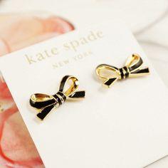 New Kate Spade Skinny Bow Earrings Black $48 | eBay