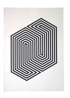 Minimal line, black and white, optical illusion