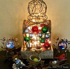 decorating a bird cage | decorating an old bird cage for christmas | Mops ideas